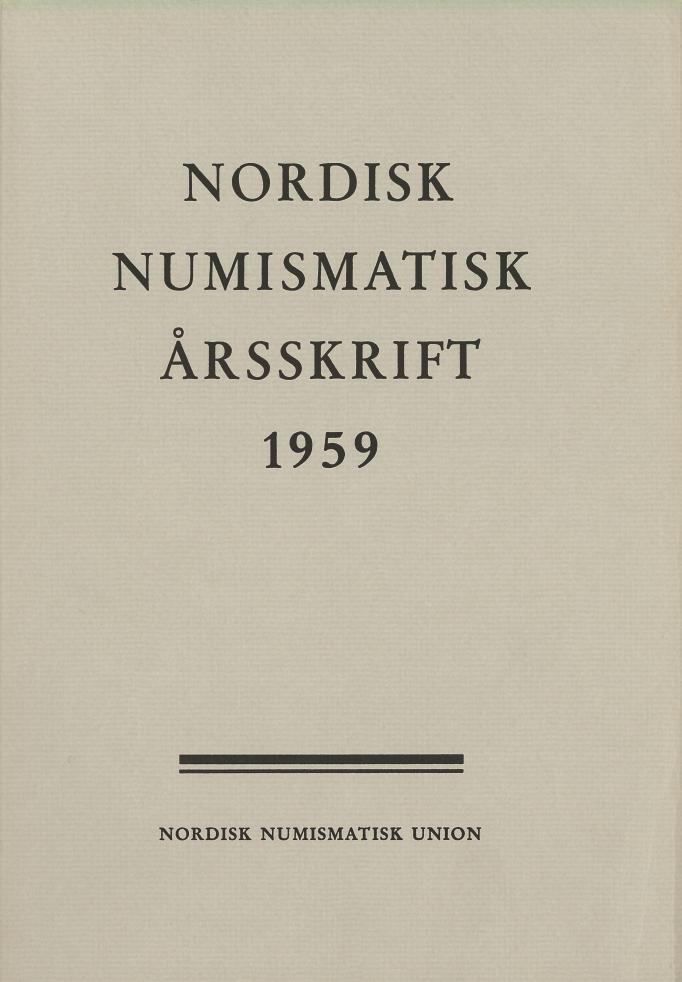 Nordisk Numismatisk Årsskrift 1959