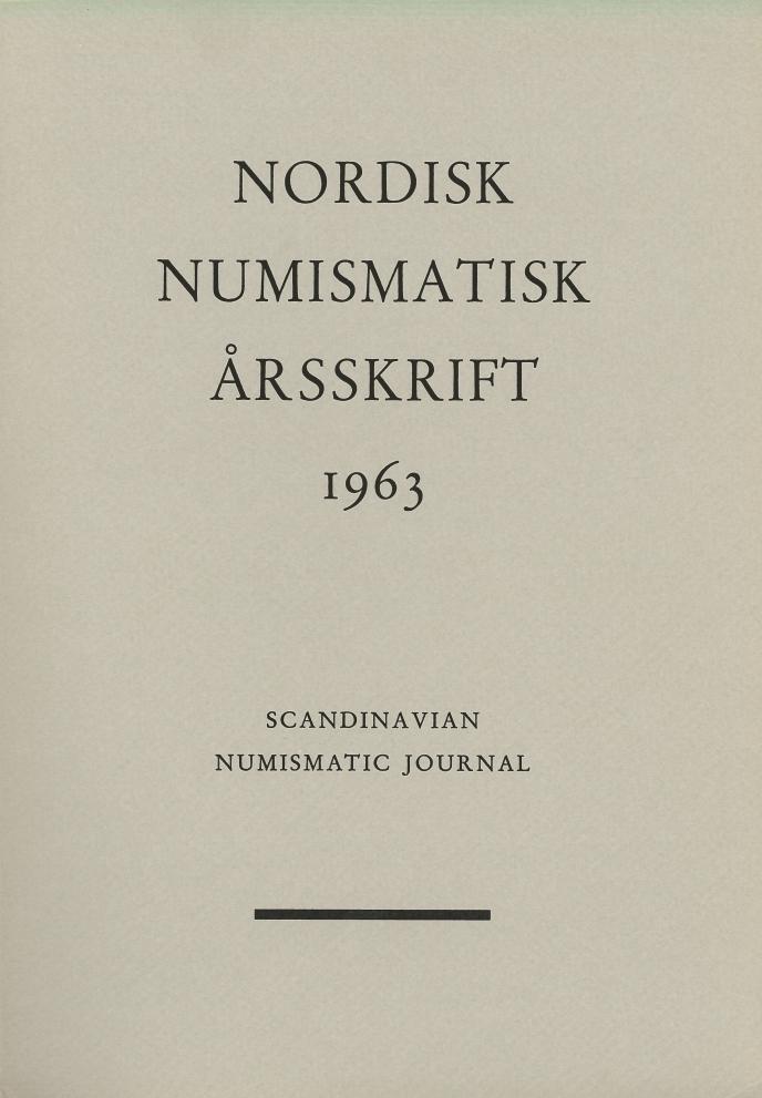 Nordisk Numismatisk Årsskrift 1963