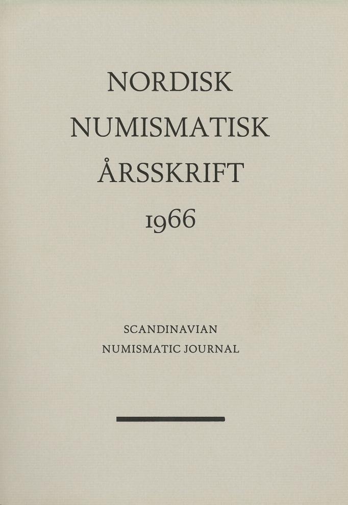 Nordisk Numismatisk Årsskrift 1966