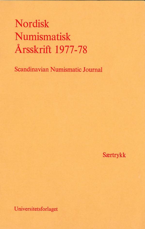 Nordisk Numismatisk Årsskrift 1977-78 (Saertryck)