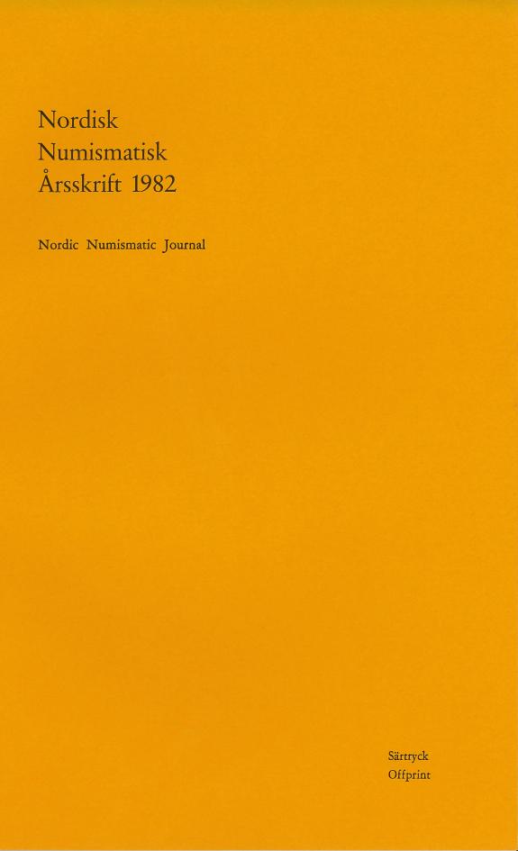 Nordisk Numismatisk Årsskrift 1982 (Särtryck)